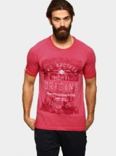 Fila Men Fuchsia Red Graphic Print Regular Fit T-shirt for Rs. 1,199