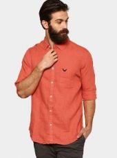 Urban Eagle by Pantaloons Men Coral Orange Linen Slim Fit Casual Shirt for Rs. 1,499