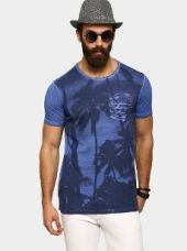 Abof Men Blue Graphic Print CPD Slim Fit T-shirt for Rs. 695