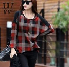 Get 20% off on Red Black Checked  Batwing Sleeve Woman Top