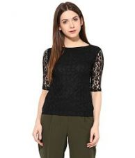Buy Miss Chase Black Cotton Tops For Women Half Sleeve Boat Neck Casual Wear from SnapDeal
