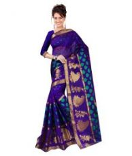Buy The Lugai Fashion Blue Cotton Silk Saree from SnapDeal