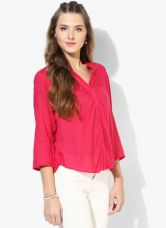 Get 50% off on Biba Pink Solid Cotton Blend Blouse