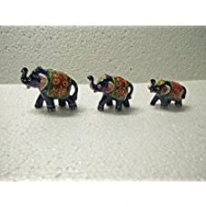 Buy Jaipuri Haat Handicrafted set of 3 showpiece Elephant for decoration and Gift purpose (9X6Cm ,7X 5Cm ,6X 4 Cm) from Amazon