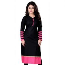Buy Fashion Founder Black Cotton Straight Fit Kurti for Rs. 160