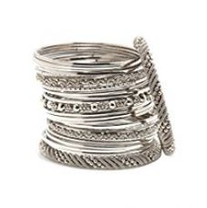 Bindhani Traditional Wedding Tribal Oxidized Silver Plated Bangles Bracelets Set For Women (2.8) for Rs. 417