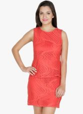 Get 70% off on Mayra Red Colored Embroidered Bodycon Dress