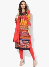 Get 50% off on Biba Multicoloured Printed Viscose Churidar Kameez Dupatta