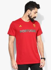 Buy Adidas Portugal Red Round Neck T-Shirt for Rs. 700