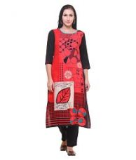 Buy Shree Red Rayon Straight Kurti for Rs. 549