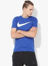 Flat 35% off on Nike As Core Verbiage 3 Blue Round Neck T-Shirt