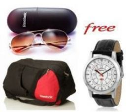 Flat 71% off on Reebok Gym Duffle Bag And Reebok Sunglasses With Free Reebok Watch