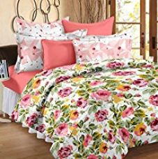 Buy Story@Home Valentine Floral 100 % Cotton Mix N Match Premium Double Bedsheet with 2 Pillow Covers, MultiColor from Amazon