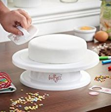 BulFyss Combo Pack Cake Turntable Revolving Cake Decorating Stand Cake Stand 28cm and Easy Glide Fondant Smoother.,White for Rs. 599