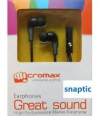 Buy Micromax Black In Ear Stereo Headset Earphones with Mic for Micromax Canvas Unite 3 Q372 for Rs. 295