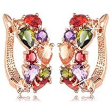 Buy Karatcart Premium Multi-Color 18K Rose GoldPlated Swiss Cubic Zirconia Earrings For Women from Amazon