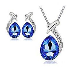 Nakabh Valentines Collection Elegant Blue Austrian Crystal TearDrop Pendant and Earrings Combo For Girls and Women for Rs. 399