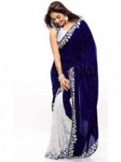 Flat 74% off on Blue White Velvet Saree With Blouse Piece