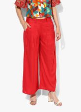 Buy W Red Solid Regular Fit Palazzo for Rs. 1190