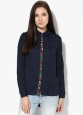 Buy Vero Moda Navy Blue Printed Shirt for Rs. 1148