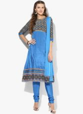 Buy Aurelia Blue Printed Viscose Churidar Kameez Dupatta for Rs. 1000