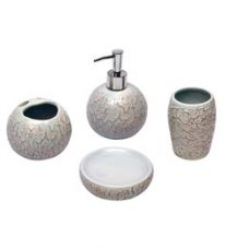 Home Creation Grey Ceramic Accessories Set - Set of 4 (Model: Bathset-126-Grey) for Rs. 809