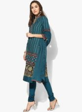Biba Blue Printed Churidar Kameez Dupatta for Rs. 1650