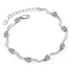 Buy Shining Diva Fashion Sterling Silver Stylish Crystal Chain Bracelet For Women & Girls from Amazon