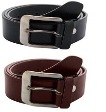 Buy Krystle Men's Combo Of 2 PU Leather Black & Brown Belt from Amazon