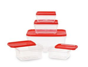All Time Plastics Polka Container Set, 5-Pieces, Red for Rs. 104