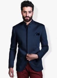 Buy Mr Button Blue Solid  Blazer from Jabong
