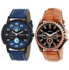 Buy Matrix Analog Pair of 1 Black, 1 Blue Dial Men's Watch-PR-151-121 from Amazon