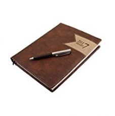 COI Office Brown and Black Faux Leather Diary 2017 with Lock and Pen with Free Pen for Rs. 749