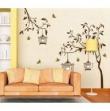 Walltola Wall Decal - Brown Tree With Birds And Cages 7127 (Dimensions 110x90 cm) for Rs. 149