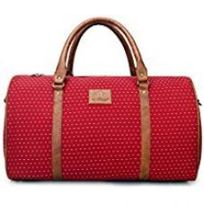 Buy The Clownfish Tapestry Faux Leather 1200 Cms 42 Litres Big Vintage Red Soft Travel Duffle bag from Amazon