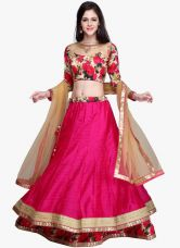 Chamunda Enterprise Embroidered Women's Lehenga, Choli and Dupatta Set  (Stitched) for Rs. 450
