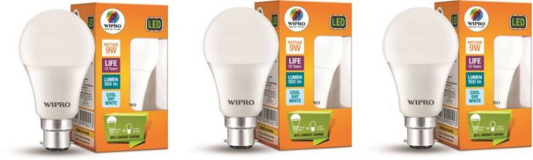 Wipro 9 W B22 D LED Bulb  (White, Pack of 3) for Rs. 410