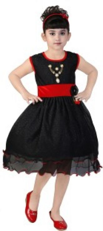 3e1070e7806 Buy FTC Bazar Girl's Midi/Knee Length Party (Black, Sleeveless) from  Flipkart