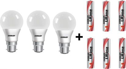 Flat 10% off on Eveready 7W LED Bulb Pack of 3 with Free 6 Batteries  (White, Pack of 3)