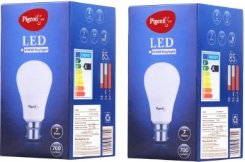Pigeon 7 W Standard B22 LED Bulb  (White, Pack of 2) for Rs. 228