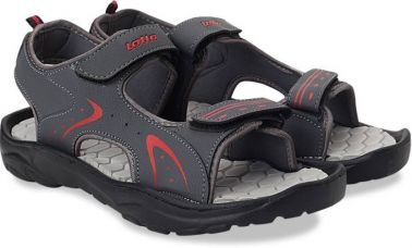 Flat 60% off on Lotto Men Grey/Red Sports Sandals