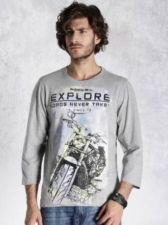 Roadster Printed Men's Round Neck Grey T-Shirt for Rs. 179
