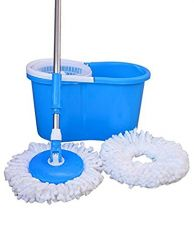 Buy John Richard 360° Spin Floor Cleaning Easy Bucket PVC Mop with 2 Microfiber Heads Color May vary from Amazon