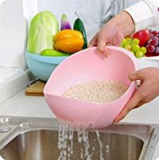 Buy Bulfyss Rice Pulses Fruits Vegetable Noodles Pasta Washing Bowl & Strainer Good Quality & Perfect Size for Storing and Straining - Multicolor (Made in India) from Amazon