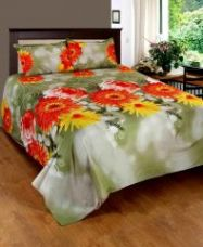 Flat 65% off on Home Castle 3d Printed Super Soft Double Bedsheet 2 Pillow Covers - Pc-dbl-3d127