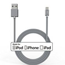 MTT Apple Certified Nylon Braided Lightning to USB Cable for iPhone 6S/6, 6S/6 Plus, 5C/5S/5 ,iPad Mini , Air 2 and More (1 Meter, Grey) for Rs. 749