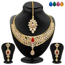 Get 87% off on Sukkhi Modish Gold Plated Ad Necklace Set With Set Of 5 Changeable Stone (product Code - 2363nada1040)