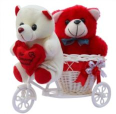 CTW Love Couple Teddy Basket cycle Valentine Showpiece Gift Set for Rs. 341