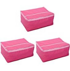 Kuber Industries™ Saree Cover Set of 3 Pcs in Non Woven Material (Pink) for Rs. 229