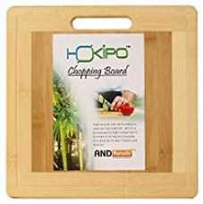 HOKIPO® Square Bamboo Wooden Chopping Cutting Board with Finger Hole & Juice Groove, 30 x 30 cm, 1 Piece for Rs. 599
